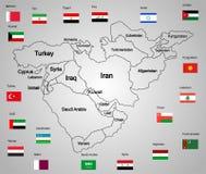 Mellersta östlig översiktsuppsättning av tillstånd och flaggor vektor illustrationer