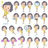 Mellersta kvinna 2 för gult omslag Royaltyfri Bild