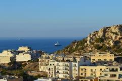 从Mellieha,马耳他的看法 库存照片