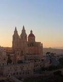 Mellieha,马耳他,日落的,垂直 免版税库存照片