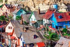 Mellieha, Мальта: Деревня Popeye, архитектурноакустическая деталь стоковая фотография