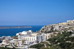 Malta, Coastline view. View at Mellieha town and Mellieha Bay in the northwestern corner of Malta Stock Photos