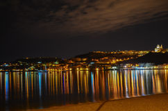 Mellieha Bay by night, Malta. Mellieha is a large village or small town in the Northern Region of Malta. It is a popular tourist resort, with the largest sandy Royalty Free Stock Photos
