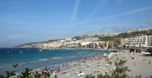 Mellieha Beach Malta And People View In Europe. Sunny day with blue sky Royalty Free Stock Image