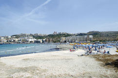Mellieha beach. Mediterranean sea at summer day. Mellieha, Malta Island, Europe Stock Photography