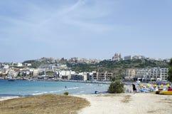 Mellieha beach. Mediterranean sea at summer day. Mellieha, Malta Island, Europe Royalty Free Stock Image