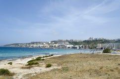 Mellieha beach. Mediterranean sea at summer day. Mellieha, Malta Island, Europe Royalty Free Stock Photos