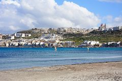 Mellieha beach and town, Malta. Royalty Free Stock Images