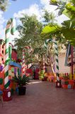 Mellieha, Malta, 30 december 2018 - Colorfull candy city for children in Popeye village movie set post office house entrance and. Candyes Anchor bay stock photography