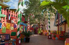 Mellieha, Malta, 30 december 2018 - Colorfull candy city for children in Popeye village movie set post office house entrance and. Candyes Anchor bay royalty free stock photography