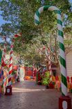 Mellieha, Malta, 30 december 2018 - Colorfull candy city for children in Popeye village movie set post office house entrance and. Candyes Anchor bay royalty free stock image