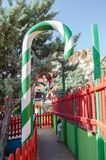 Mellieha, Malta, 30 december 2018 - Colorfull candy city for children in Popeye village movie set post office house entrance and. Candyes Anchor bay royalty free stock photos