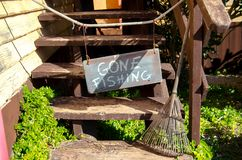 Mellieha, Malta, 30 december 2018 - Gone fishing sign on the stairs on the entrance of the Olives house stock photography