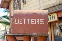 Mellieha, Malta, 30 december 2018 - Letter box in front of silversmith house in popeye village stock photo