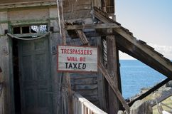 Mellieha, Malta, 30 december 2018 - No trespassing sign on the old rough house stock photo