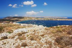 Mellieha, Malta. View from the Mellieha on the Mellieha Bay Stock Photo