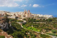 Mellieha, Malta. View of church St Mary in the Mellieha, Malta royalty free stock photo