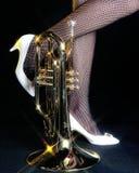 Mellophone e piedini Backgroune nero Immagine Stock Libera da Diritti