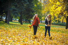 Mellow autumn. Two girls are students cheerfully spend time in the city park. Stock Photo