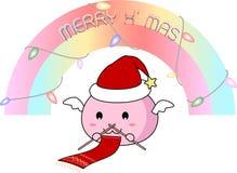 Melma Santa che tricotta la sciarpa di Natale Immagini Stock