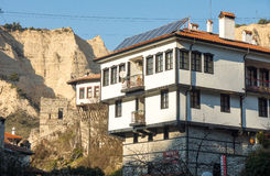 Melnik in Bulgaria: house and mountains Royalty Free Stock Images