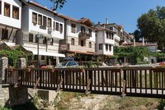 Panorama with Old houses in town of Melnik, Blagoevgrad region, Bulgaria Royalty Free Stock Images