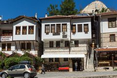 Panorama with Old houses in town of Melnik, Blagoevgrad region, Bulgaria Stock Photo
