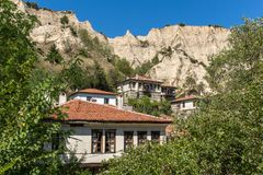 Panorama with Old houses in town of Melnik, Blagoevgrad region, Bulgaria Royalty Free Stock Photos
