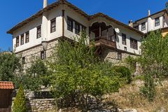 Panorama with Old houses in town of Melnik, Blagoevgrad region, Bulgaria Royalty Free Stock Photography