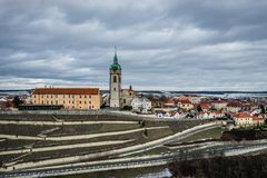 Melnik city in Czech Republic. Mělníkis a town in the Central Bohemian Region of the Czech Republic. It lies at the confluence of the Labe and Vltava stock image