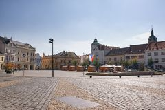 Melnik, Czech republic - September 29, 2017: historical buildings on Namesti Miru square with pavement on foreground royalty free stock image