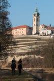 Melnik, historische stad in Tsjechische Republiek stock foto's