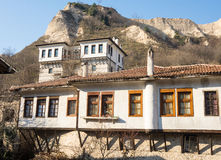 Melnik House and mountains in Bulgaria Stock Photos