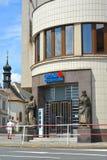 Melnik Tjeckien Ingång till byggnaden av den tjeckiska sparbanken Royaltyfri Fotografi