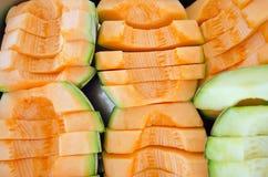 Melo de Cucumis ou séries de melon dans le plateau en acier (d'autres noms sont biseautés Images stock