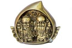 Melocotón del shui de Feng con los hombres sabios y wou-lou Imagen de archivo libre de regalías