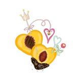 Melocotón en chocolate con los corazones en amor Foto de archivo libre de regalías