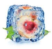 Melocotón jugoso en cubo de hielo fotos de archivo libres de regalías
