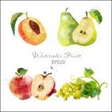 Melocotón, pera, manzana, uva Foto de archivo libre de regalías
