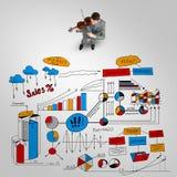 Melodi för affärsmanlekframgång Arkivbilder