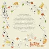 Melodia di autunno Il violino, note, va Caduta del foglio Composizione astratta con un posto per testo, il violino, le note e le  Fotografia Stock