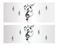 Melodii, notatki i muzyki wektoru sztandar, Ilustracji