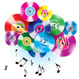 Melodic cloud. Color  vinyl record background - vector illustration Royalty Free Stock Photography
