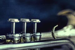 Melodic. Detail of a trumpet with texture Royalty Free Stock Photo