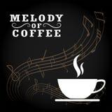Melodie des Kaffeelogos glückliche Zeit mit Kaffee Kaffeestubelogo VE stock abbildung