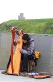 Melodie irlandesi dell'arpa per i turisti fotografia stock