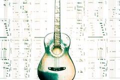 Melodie nuove di prova con la chitarra Immagini Stock