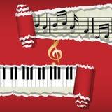 Melodie-piano-muziek nota's Stock Afbeeldingen