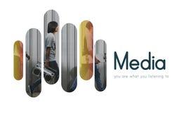 Melodie-Unterhaltung, die Medien-Ikonen-Konzept strömt lizenzfreie stockbilder