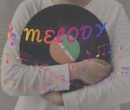 Melodii muzyki notatki rytmu grafiki pojęcie Obrazy Royalty Free